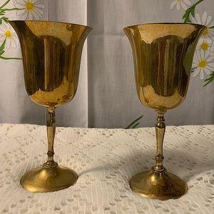 EPNS elegant vintage Indian brass goblets set 2
